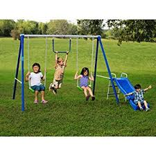 Playground Sets For Backyards by Amazon Com Metal Swing Sets With Slide For Kids 2 12 Y O Outdoor