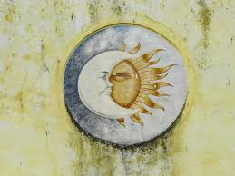 sun and moon ceramic ornament plate free image peakpx