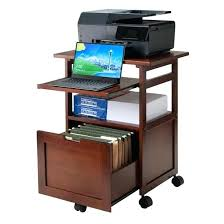 computer and printer table printer table computer printer stand with castors in dark taupe