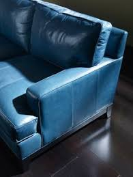 Blue Leather Sofa by Blue Leather Sectional With Contrast White Piping Country Willow