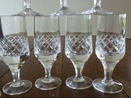 vintage crystal wine goblets heavy weight set of 8 from historique