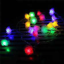 decorative outdoor solar lights china outdoor solar string lights 50 led rose flower waterproof