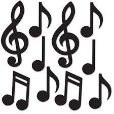 Musical Note Decorations Mini Musical Notes Silhouette Cutouts 10 Pack Music Dance 1950s