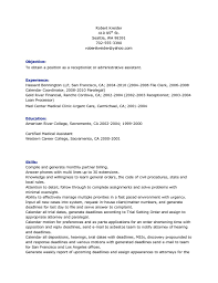 Sample Resume Receptionist by 100 Sample Resume For A Receptionist Example Refrences Writing