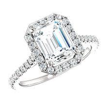black friday ring sales 1 50 carat emerald cut diamond u0026 halo engagement ring 18k white