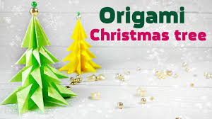origami christmas tree 3d made of paper easy tutorial for kids