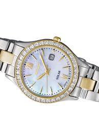 swarovski crystal bracelet watches images Seiko sut074 solar powered dress watch with mother of pearl dial jpg