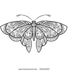 butterfly drawing mandala design coloring stock vector 756259390