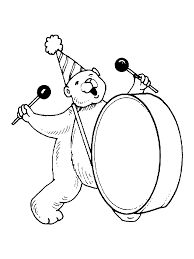 digital dunes bear playing drum coloring pages