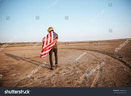 Usa Flag Cape Young Brutal Man Wearing American Flag Stock Photo 504682120
