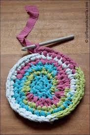 Crochet Rugs With Fabric Strips Love This Pouf Crocheted From Fabric Strips Hookin U0027 It Up