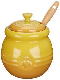 amazon com le creuset stoneware 16 ounce honey pot dijon honey