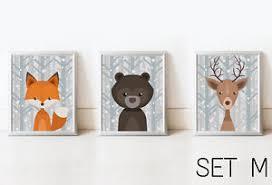 Deer Nursery Decor Set 3 Fox Deer Nursery Decor Wall Print Animals