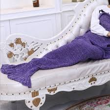 knitted crochet mermaid tail blanket teen size sofa wrap