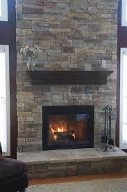 cool stacked gray stone fireplace veneer come with wooden