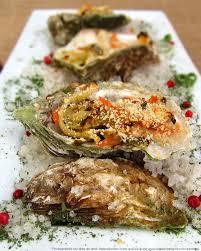 cuisiner les huitres huîtres gratinées au four sauce crémeuse au vin blanc les