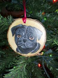 black pug ornament decorative hanger can be by purplecowart