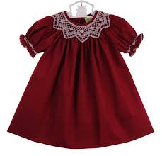 le za me cranberry bishop smocked dress with antique white