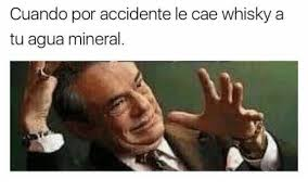Whisky Meme - cuando por accidente le cae whisky a tu agua mineral meme on sizzle