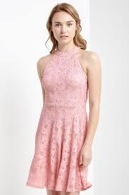 light pink halter dress fit and flare lace halter dress