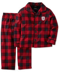 s boys 2 plaid button pajamas
