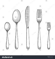 fork spoon knife drawing cutlery sketch stock vector 617887220