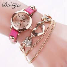 pink bracelet watches images Duoya watches women brand gold heart leather wristwatches women jpg