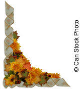 fall leaves and flowers border image and illustration stock