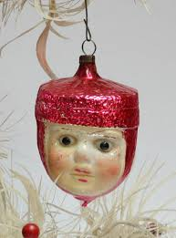 Old German Christmas Decorations by The Old Christmas Station Figural Glass Ornaments Heads