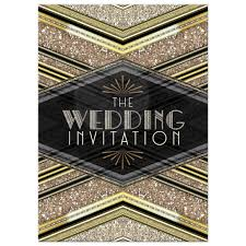 art deco wedding invitation u2022 black gold glitter v2
