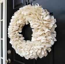 large white burlap fabric rag wreath wreaths and burlap