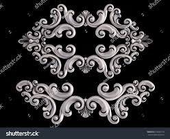 chrome ornament on black background isolated stock illustration