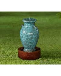 l with water fountain base snag this sale 10 off jeco turquoise polyresin vase water