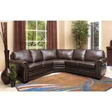 Overstock Sectional Sofas Abbyson Oxford Brown Top Grain Leather Sectional Sofa Overstock