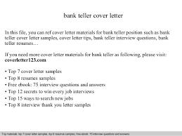 Sample Resume For A Bank Teller by Bank Teller Cover Letter