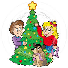 cartoon two kids decorating christmas tree by clairev toon