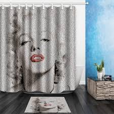 Marilyn Monroe Bathroom Set Waterproof Beautiful Paris Street Scene Design Peva Bathroom