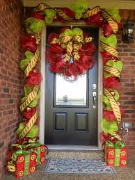 mesh ribbon ideas deco mesh and ribbon entry way for christmas decorating a