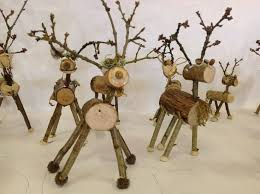 stick reindeers made by children from materials at sticks