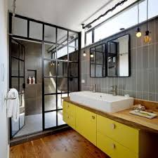 architecture industrial bathroom plus bare bulb pendants and