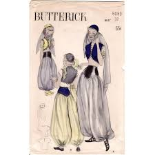 Oriental Halloween Costumes Vintage 1950 U0027s Sewing Pattern Turkish Genie Harem