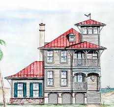 house with tower plan w15725ge beach house with tower lookout e architectural design