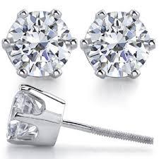 moissanite earrings crown 6 prong moissanite stud earrings moissaniteco