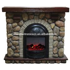 stone effect fake flame electric fireplace with faux stone mantel