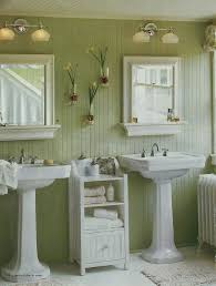 enchanting sage green wall color with modern pedestal sink for