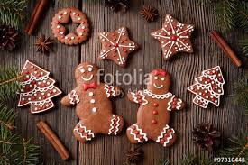 gingerbread man and woman couple fur trees star christmas