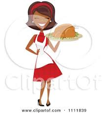 clipart happy black retro carrying a roasted thanksgiving or