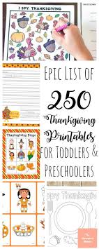 250 free thanksgiving printables for toddlers and preschoolers