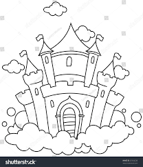 line art illustration castle sky coloring stock vector 67434238