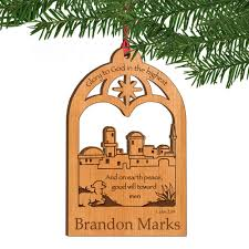 town personalized wooden christmas ornament